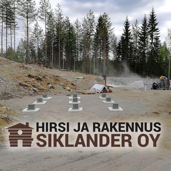 Pieksämäen rakennuskohteen ensimmäinen kuva Siklanderin logon kanssa.
